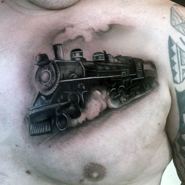 Accurate designed and painted black and white steamy train tattoo on chest