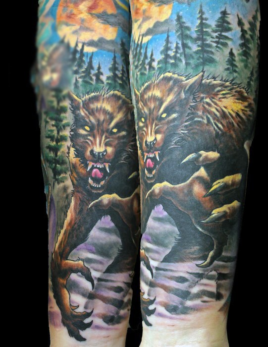 Accurate detailed looking colored evil werewolf tattoo on forearm