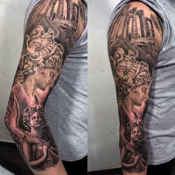 Accurate looking black and white antic statues tattoo on sleeve