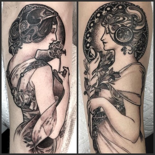 Accurate looking black ink engraving style woman portraits tattoo on forearms
