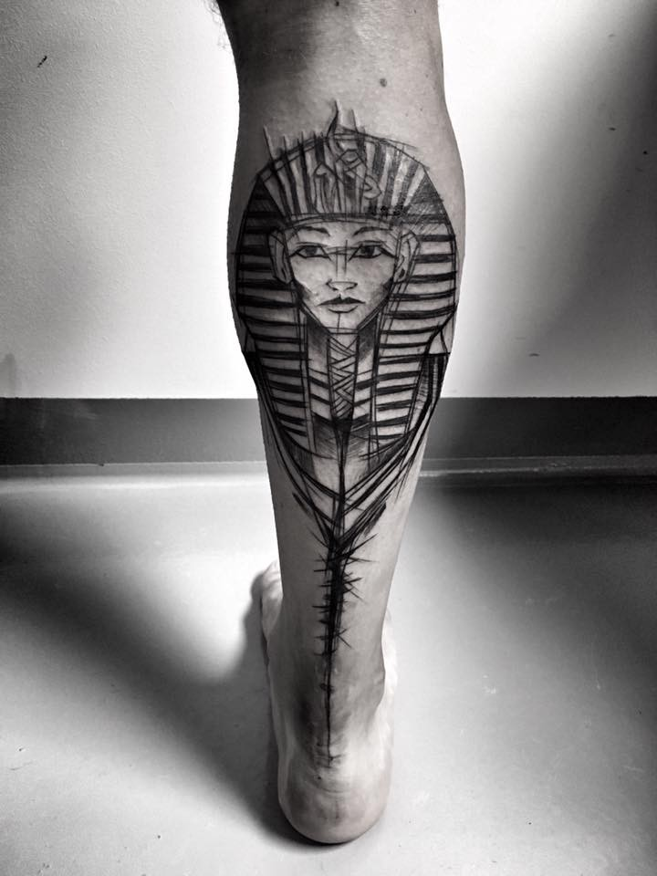 Accurate looking black ink leg tattoo of Egypt Pharaoh by Inez Janiak