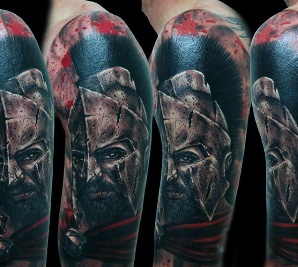 Accurate natural looking colored Spartan warrior in corrupted helmet tattoo on half sleeve