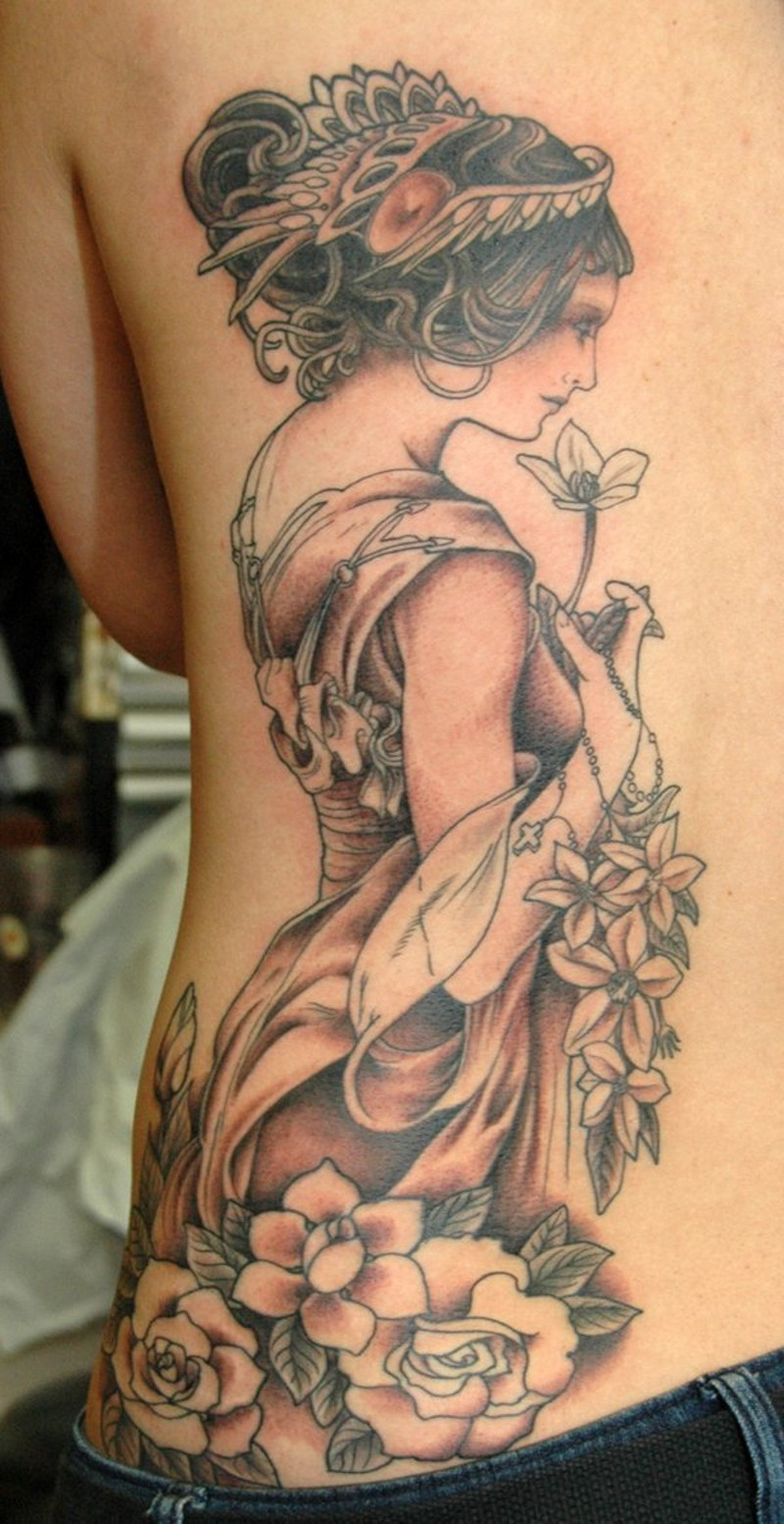 Accurate painted and designed colored half back tattoo of cute woman with flowers and cross