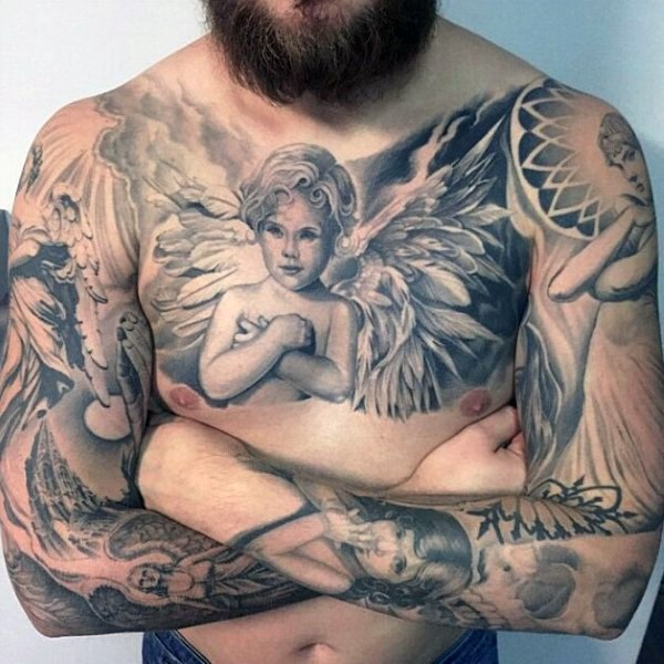 Accurate painted black and white various angels tattoo on chest and sleeve