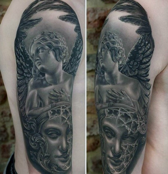 Accurate painted black ink angel tattoo on shoulder combined with mystic portrait