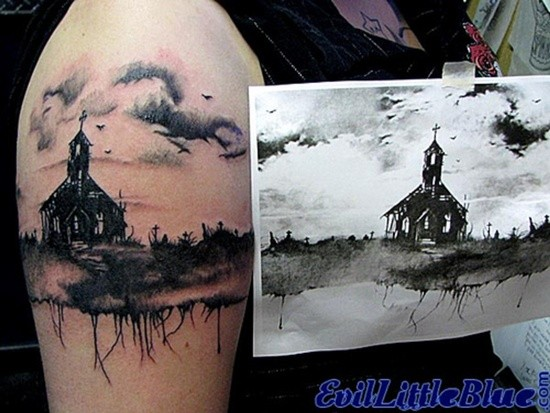 Accurate painted black ink detailed old ruined church tattoo on shoulder