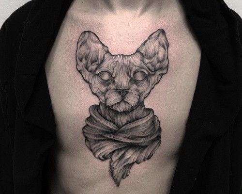 Accurate painted black ink engraving style chest tattoo of Egypt cat