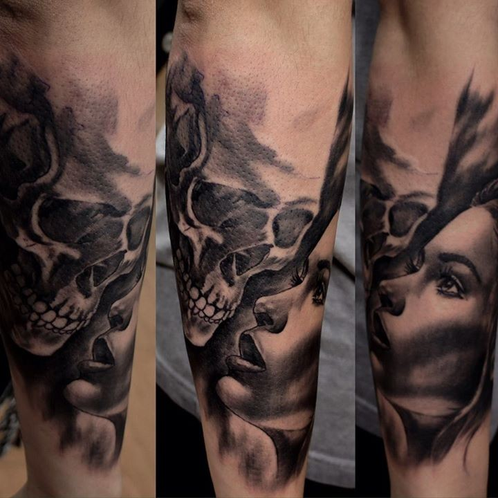 Accurate painted black ink human skull tattoo on forearm combined with woman portrait