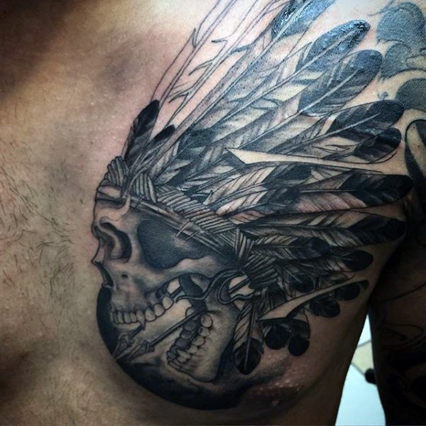 Accurate painted black ink old Indian skull tattoo on chest with arrows