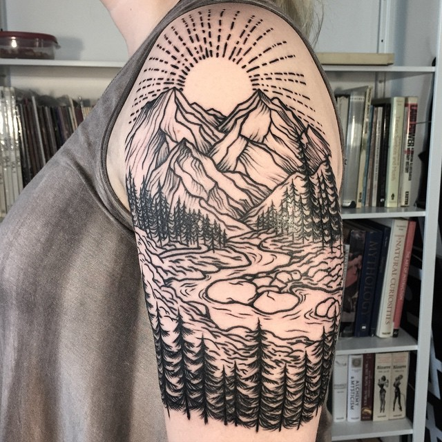 f777ead7a Accurate painted black ink shoulder tattoo of mountain river with sun and  forest