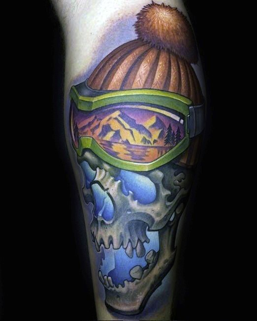 Accurate painted colored arm tattoo of human skill with hat
