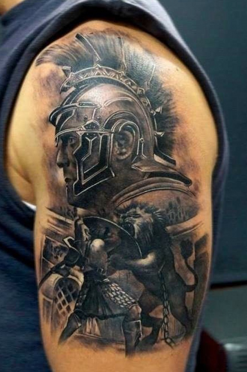 accurate painted colored shoulder tattoo of gladiator