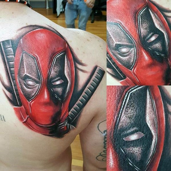 Accurate painted lifelike scapular tattoo of Deadpool with swords
