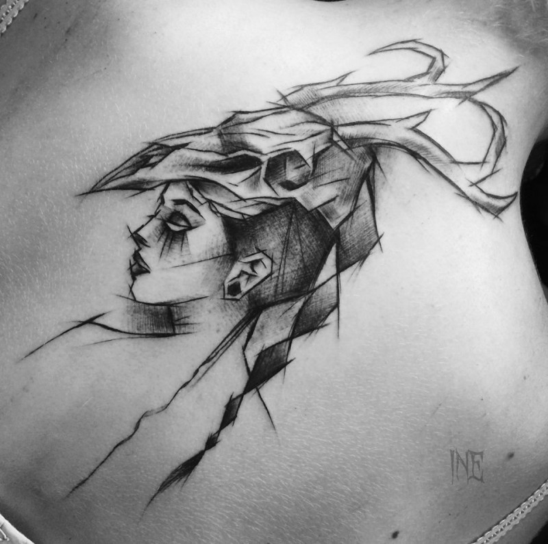 Accurate painted sketch style painted by Inez Janiak tattoo of ancient woman with skull helmet