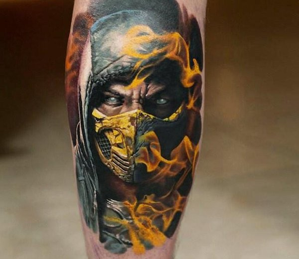 Accurate painted very detailed Mortal Combat fighter tattoo on leg