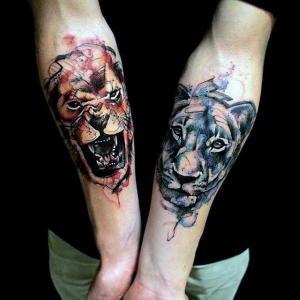 Accurate watercolor style forearm tattoo of different lions