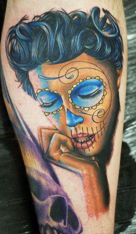 Adorable black hair santa muerte girl tattoo
