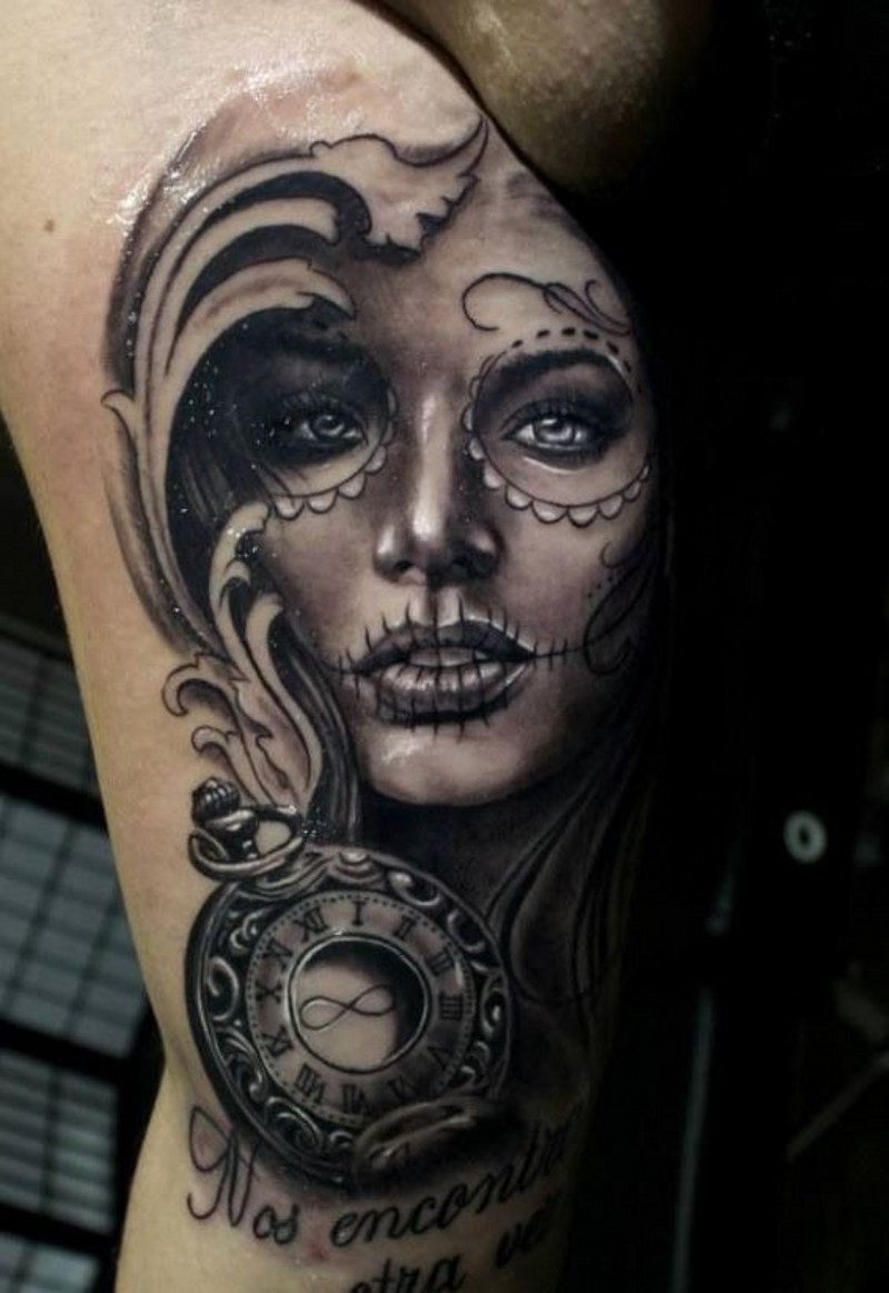 Adorable day of the dead girl with clock tattoo