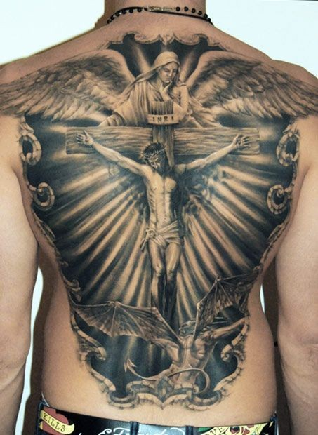 Adorable jesus crucified on a cross tattoo on back for Jesus back tattoos