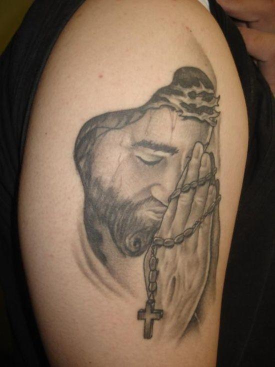 Adorable jesus praying tattoo on shoulder