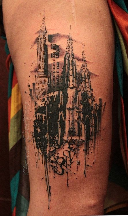 Adorable new style cityscape tattoo on shoulder