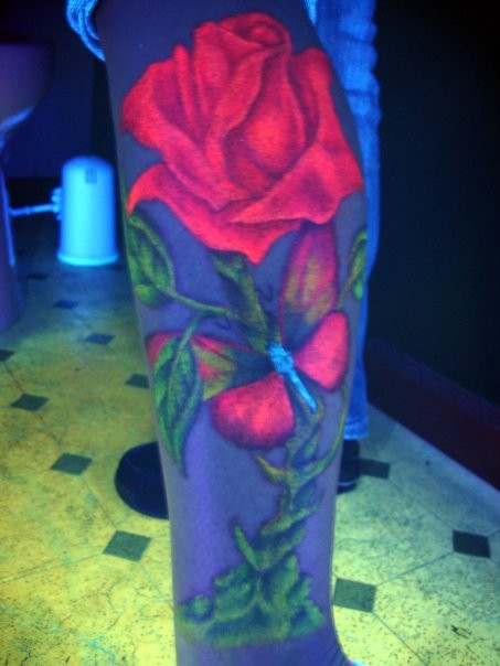 Alchemy rose with different colors black light tattoo
