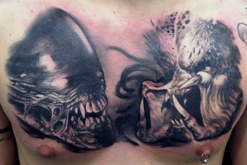 Alien and predator tattoo on chest