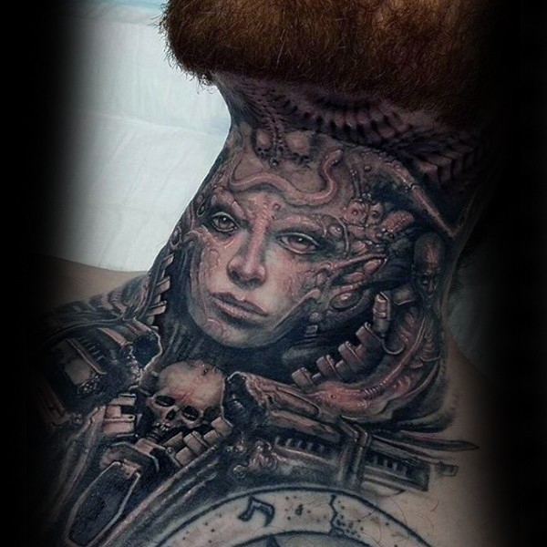 Alien lice mystical looking black and gray style woman portrait tattoo on neck