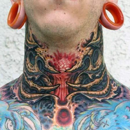 Alien like colored neck tattoo