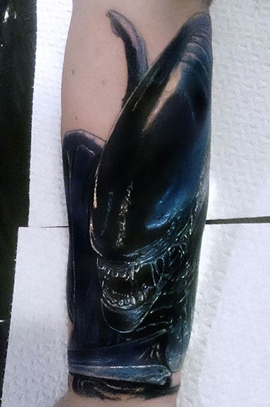 Alien xenomorph art forearm tattoo