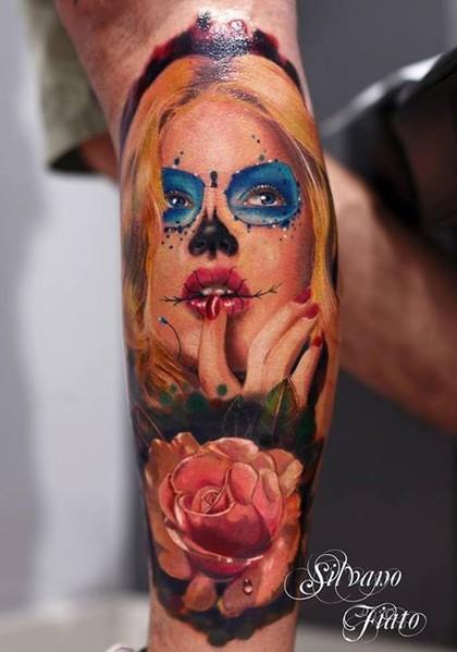 Amasing beautiful blonde santa muerte girl with pink rose tattoo