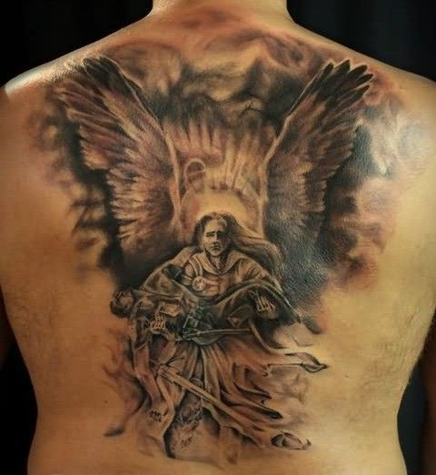 Amazing great angel savior tattoo on back