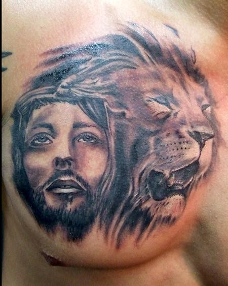 Amasing jesus and lion tattoo on chest