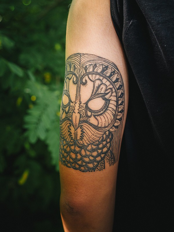 Amazing owl tattoo on half sleeve