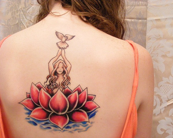 Amazing red lotus and girls with dove tattoo on back