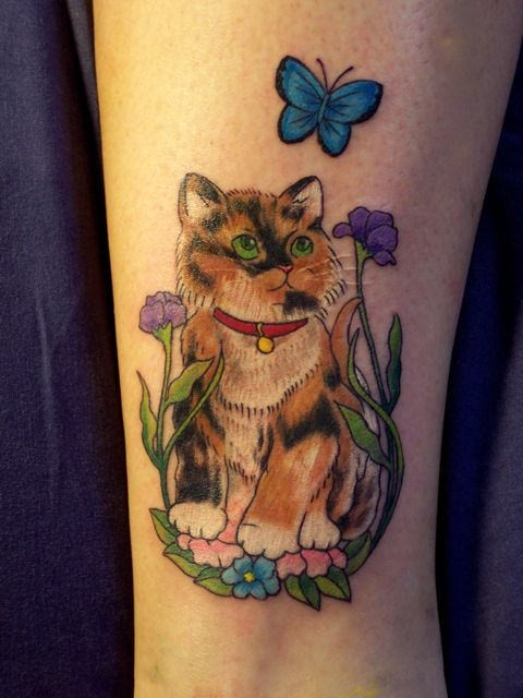 Amazing and cute cat witr butterfly ankle tattoo