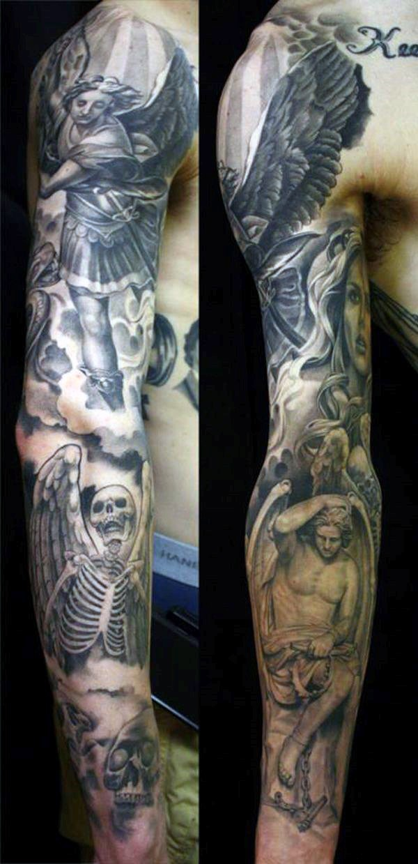 Amazing black and white angel warrior tattoo on sleeve combined with angel skeleton