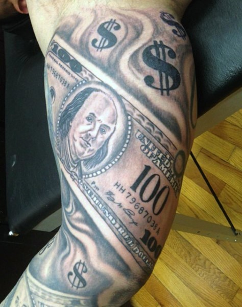 Amazing black and white dollar bills tattoo on biceps