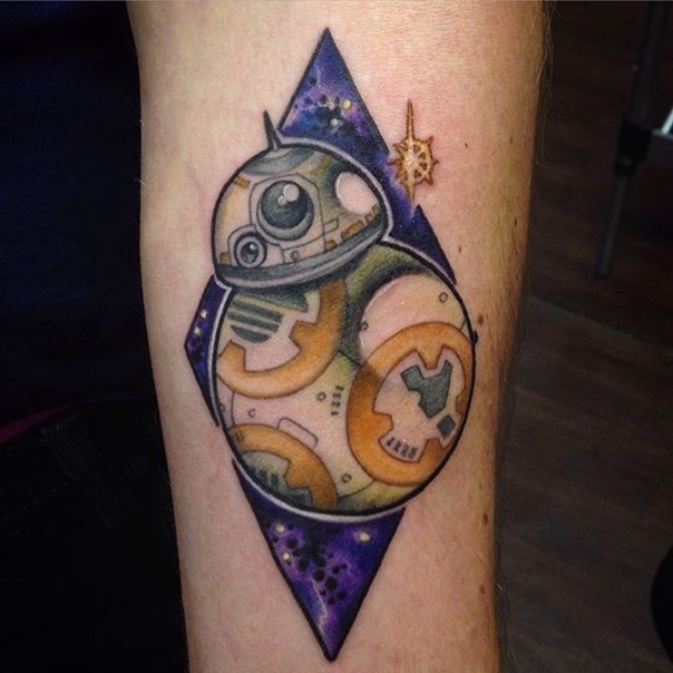Amazing cartoon like colored star droid tattoo on forearm