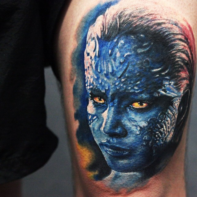 Amazing colored and detailed X-MEN female villain tattoo on thigh