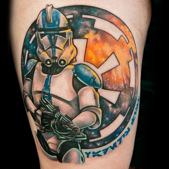 Amazing colored big Storm trooper tattoo on thigh stylized with Empire emblem