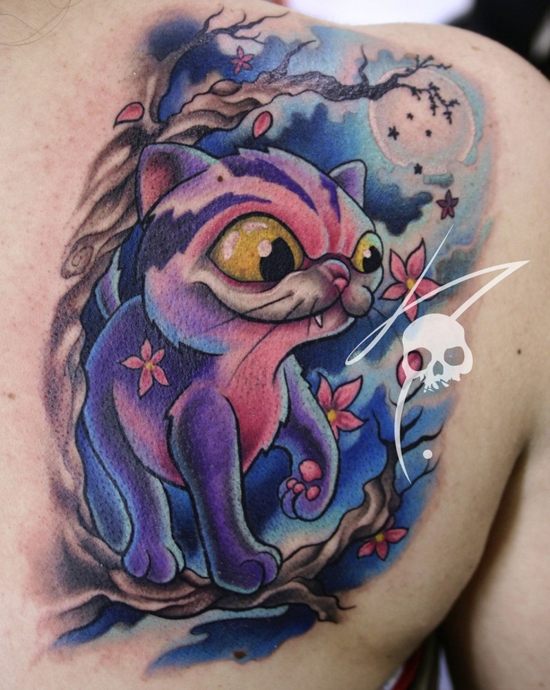 Amazing colored funny back tattoo of cute cat with flowers