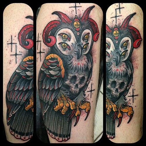 Amazing colored very detailed arm tattoo of mystical creepy owl