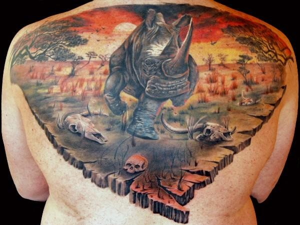 Amazing coloured rhino tattoo by alex de pase