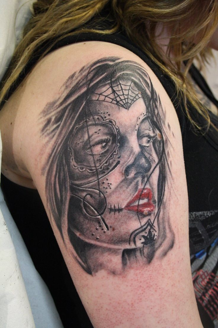Amazing dark day of the dead girl tattoo
