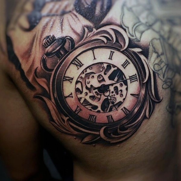 Amazing design old style clock with mechanisms 3D realistic tattoo