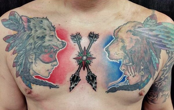 Amazing designed multicolored various tribal women with arrows tattoo on chest