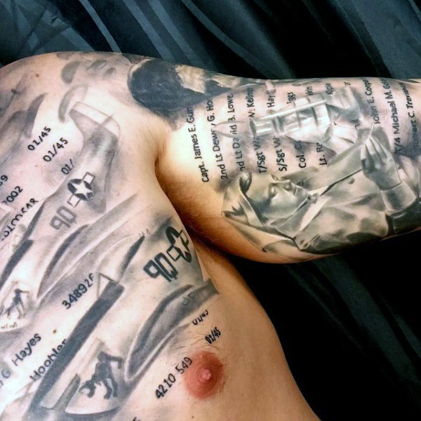 Amazing designed realistic big realistic WW2 letters tattoo on chest