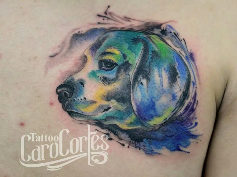 Amazing dog&quots portrait tattoo with colored paint drips by Caro Cortes in watercolor style