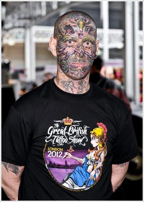Amazing Face Tattoo Design For Men